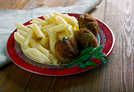 veal: Veal Polpette  and pasta.Traditional Italian meatballs