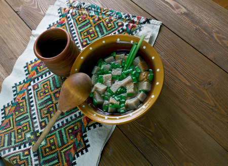 spring onions: Russian cold soup - murtcovka ,kvass with rye bread and spring onions