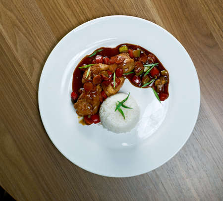 mutton: mutton soy sauce with rice. Chinese cuisine