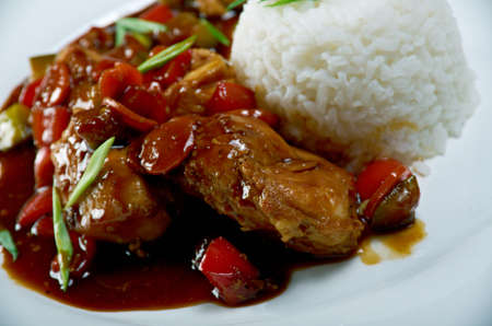 soy sauce: mutton soy sauce with rice. Chinese cuisine