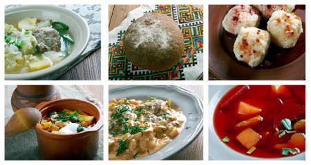 slavonic: Food set .Slavonic traditional  cuisine Stock Photo
