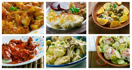 cannelle: Food set of different chicken meat . collage. Stock Photo