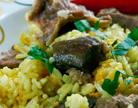 bil: Ruzz bil Khaloot - Libyan rice with liver and almonds.African cuisine