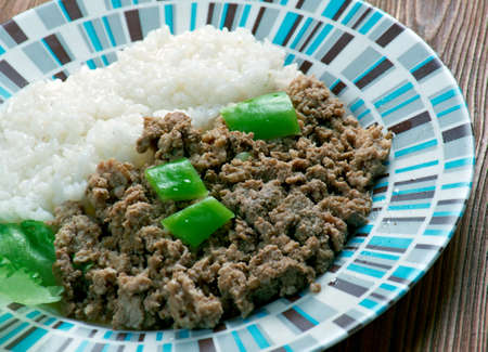 minced meat: Cuba Cocina - minced meat with rice on the Cuban
