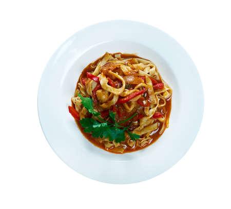 fettuccine: fettuccine with squid. italian pasta.
