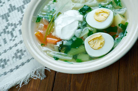sorrel: Polish Sorrel Soup. Slavic cuisine Stock Photo