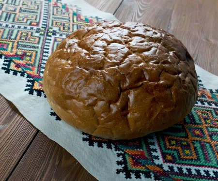 crust crusty: kovriga - Russian traditional round bread. Stock Photo