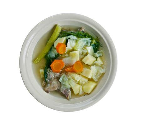 tripe: S?chsische fleckensuppe - German soup with pork tripe Stock Photo