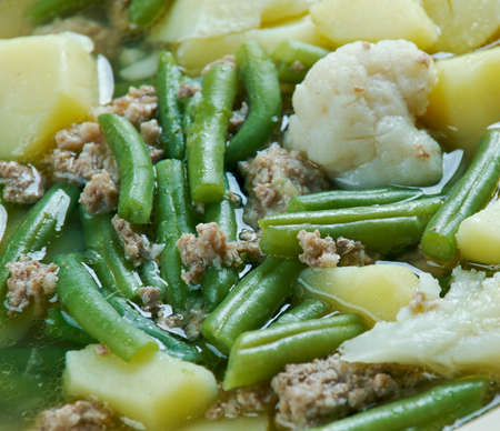 popular soup: Schnippelbohnensuppe - German soup with meat mince and green beans.It is popular in the Rhineland