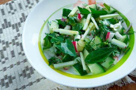 slavic: Traditional Slavic spring salad of dandelions Stock Photo