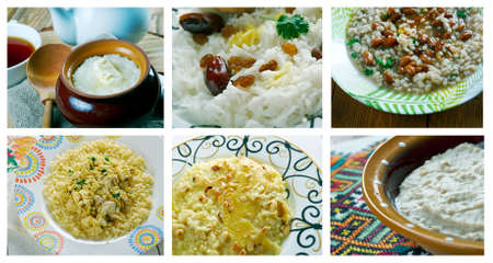 Food set of different cereals dish . collage Banco de Imagens