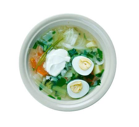 slavic: Polish Sorrel Soup. Slavic cuisine Stock Photo
