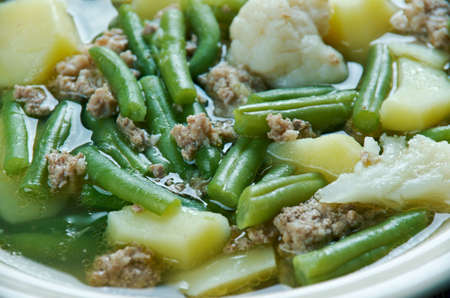 carne picada: Schnippelbohnensuppe - German soup with meat mince and green beans.It is popular in the Rhineland