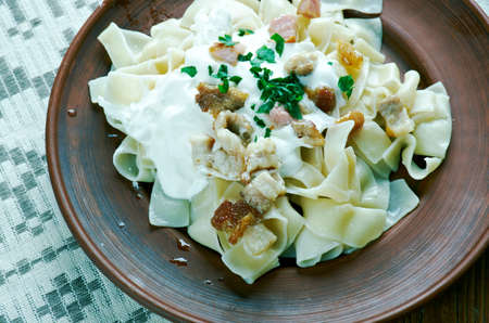 quark: Turos csusza - Hungarian savoury quark cheese noodle dish.made with small home-made noodles or pasta. Stock Photo