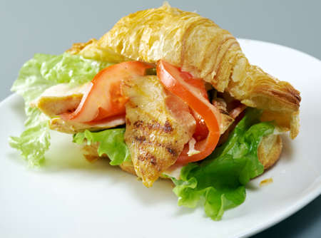 chicken fillet: Summer Morning Breakfast Croissant stuffed chicken fillet and vegetables
