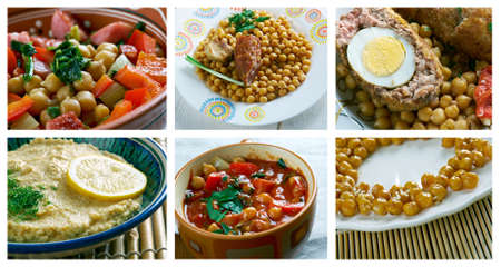 garbanzos: Alimentaci�n conjunto de diferentes Garbanzos Dishi. collage Foto de archivo