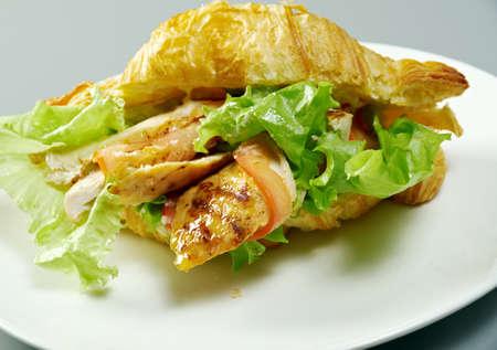 Chicken Nuggets: Summer Morning Breakfast Croissant stuffed chicken nuggets Foto de archivo