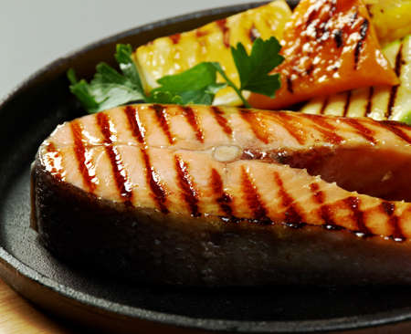 gill: salmon steak with vegetables