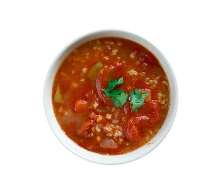 bulgur: Tomato Bulgur Soup - Persian Dish. Stock Photo