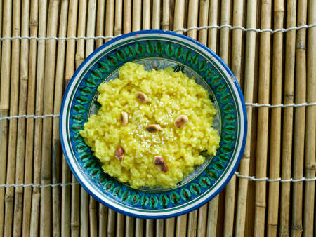 south indian: Pongal chutney - South Indian Rice and Lentils Risotto with Coconut Chutney Stock Photo