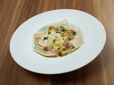 ravioli: Italian ravioli with  bacon and cheese Stock Photo