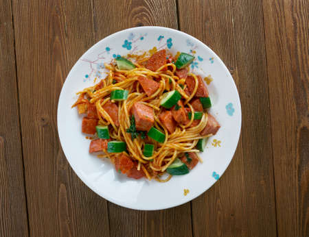 creole: Jambalaya Pasta Salad with  pepperoni sausage. Stock Photo