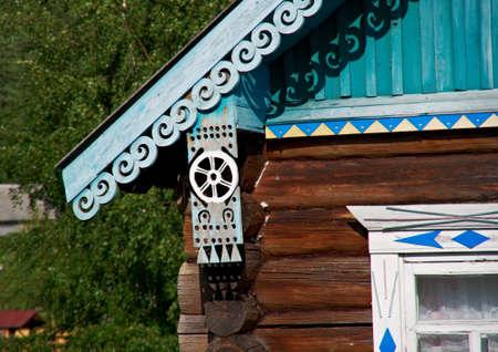 wood carving: old times Russian  farmhouse . Resistant wood carving ,Kenozerye.Arkhangelsk region .Russian