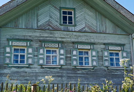 the old times: old times Russian  farmhouse . Resistant wood carving ,Kenozerye.Arkhangelsk region .Russian