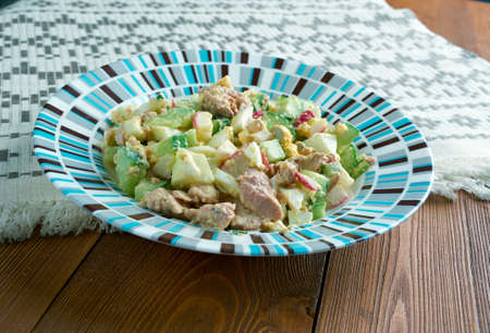 russian salad: Russian Salad with cod liver and vegetables Stock Photo