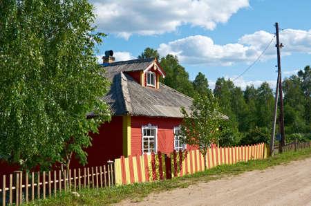 old times farmhouse. Pagan sign Yarylo ,Kenozerye.Arkhangelsk region .Russian