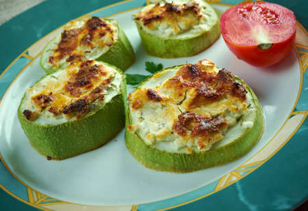 Kabak Dolmasi - zucchini stuffed with Goat cheese.Turkish cuisine Stock Photo