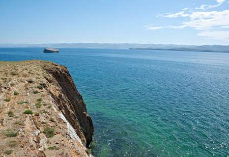 he rocky cliff . Maloe More Strait View, Cape Uyuga, Baikal lake