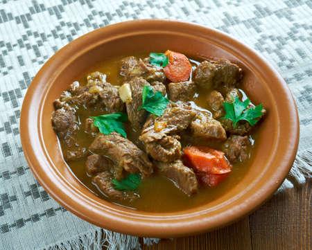 Czech beef goulash . close up