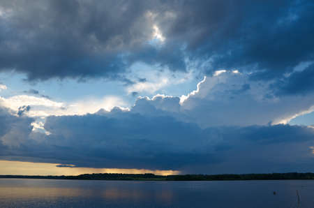 Lake Kenozero .Evening storm over the water. Arkhangelsk region, Russia