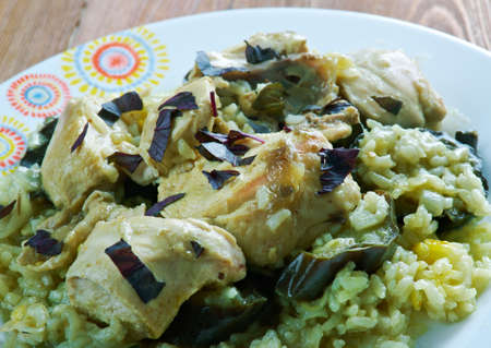 Magluba Palestinian dish served with the meat and vegetables on top of the rice.