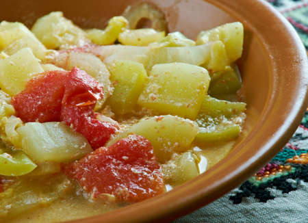 hungarian: paprikash zucchini - HungarianStewed vegetables close up