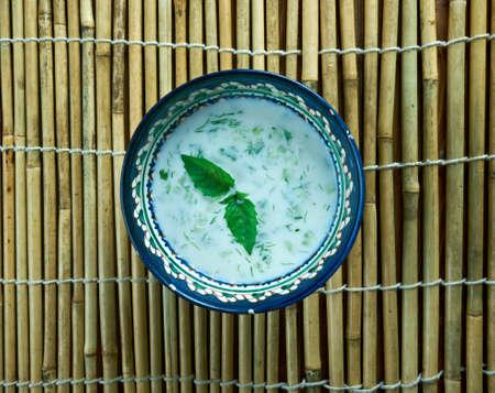 Chalap - beverage common to Kyrgyzstan and Kazakhstan. It consists of qatiq, salt,Central Asian cuisine Stock Photo