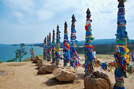 colonnade: Serge - pillars on Olkhon island, lake Baikal, Siberia, Russia
