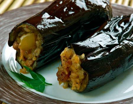 Taze Patl?can Dolmas? Tarifi .Turkish cuisine Eggplants  stuffed with meat and rice Stock Photo