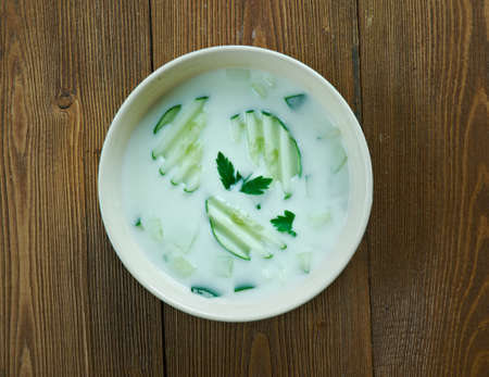 mast: Persian Cucumber Yogurt Mast o Khiar Stock Photo