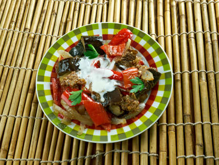 Afghan Spicy Braised Eggplant dish - Burani Bonjon Stock Photo