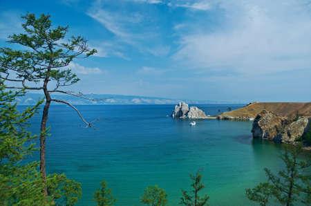 shamanism: Rock Shamanka at headland Burhan  .Olkhon island, lake Baikal, Siberia, Russia