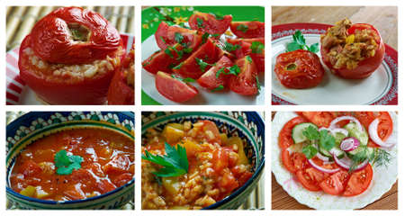 domates: Food set of different   tomato . collage