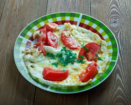 lebanese: Byde Banadoura Lebanese tomato omelette. Middle Eastern cuisine