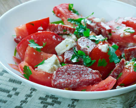 chorizo: Chorizo tomato and cheesefeta salad.Mediterranean cuisine