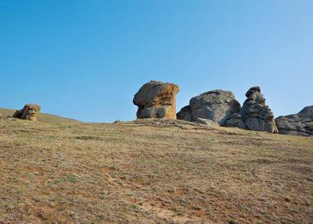 buryatia: rocks at Suvo village Barguzin valley,Buryatia, Russia, Stock Photo