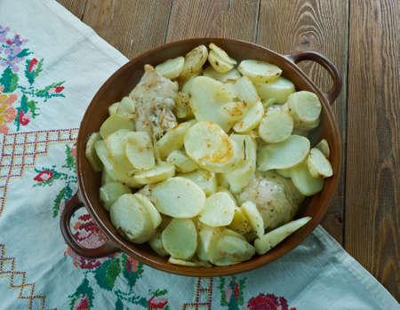 bil: Djej W Batata Bil Sayniyyeh  - Middle Eastern Baked Garlic Chicken and Potatoes