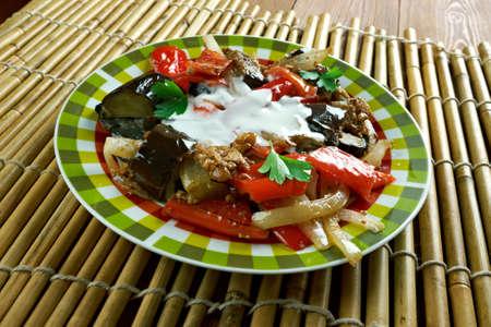 seer: Afghan Spicy Braised Eggplant dish - Burani Bonjon Stock Photo