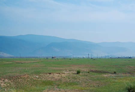 russia steppe: Steppe on a background of mountains .Barguzin valley,Buryatia, Russia.