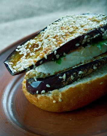 portobello: Grilled Eggplant and Portobello  Sandwich. close up Stock Photo